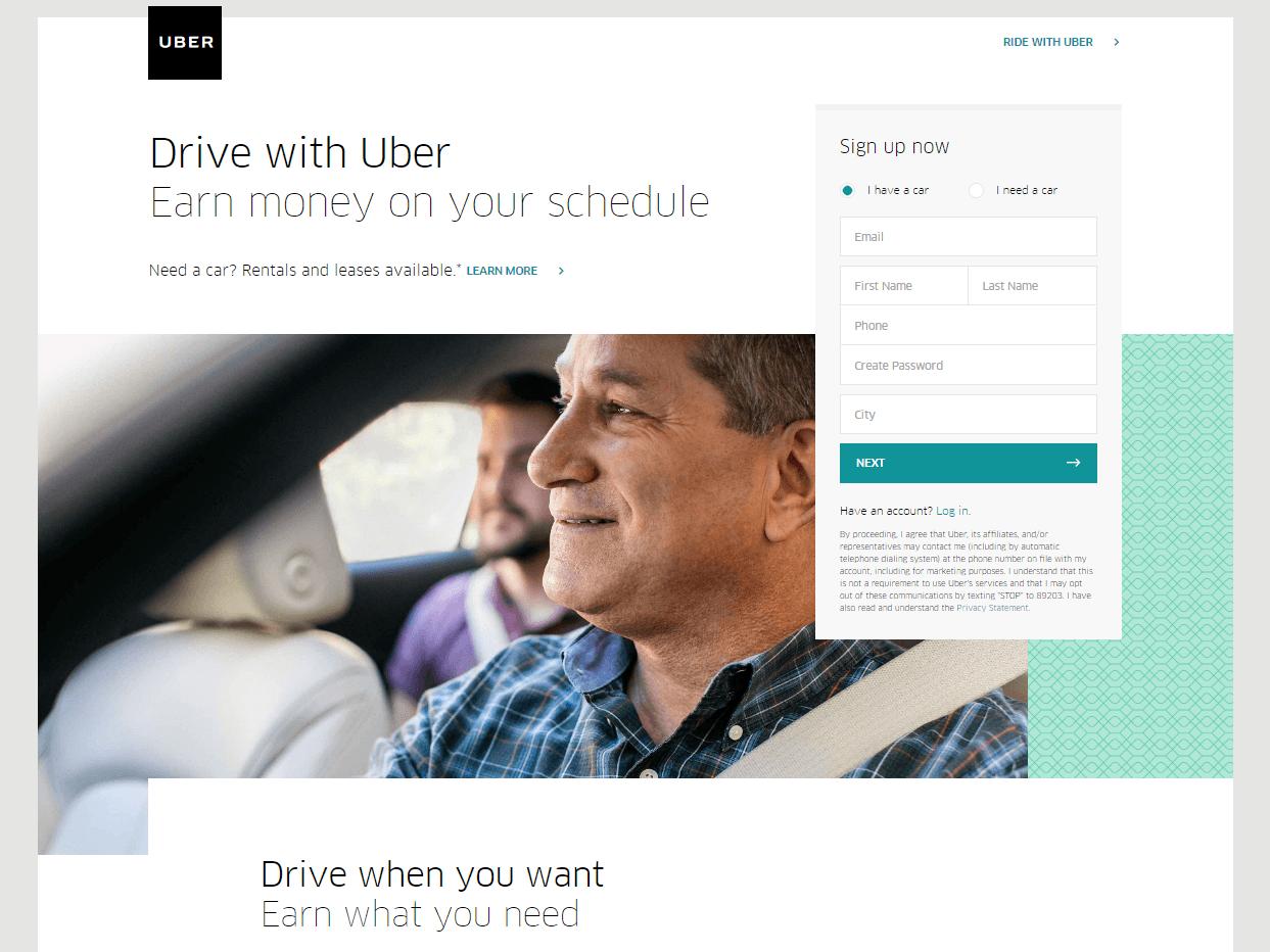 Landing page de Uber