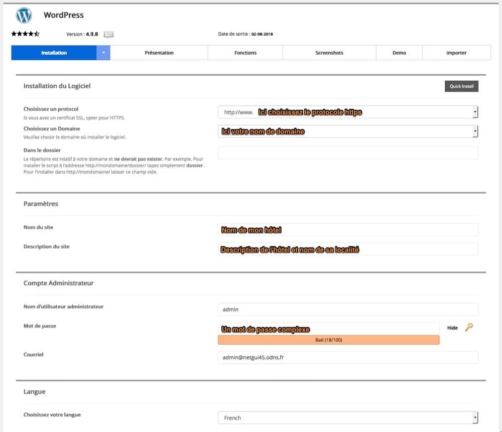 installation 3 clics wordpress