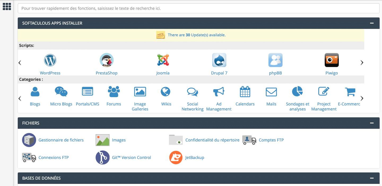interface cpanel pour WordPress
