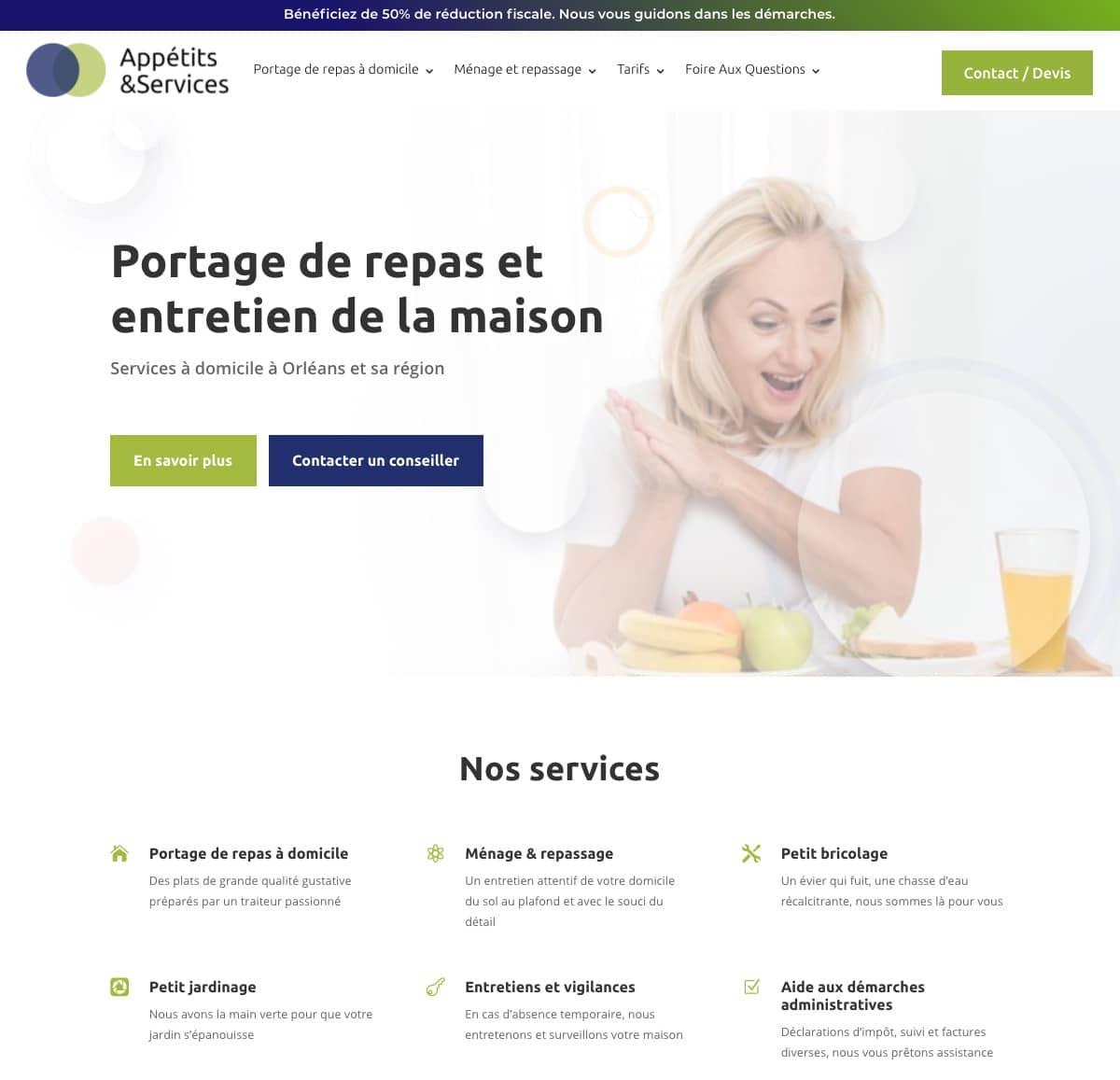 page d'accueil du site appétits et services
